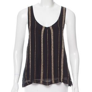 Misa Los Angeles Black Tank with Gold Beads